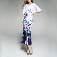 2019 summer fall dress woman O neck office lady print flower cloak sleeve fashion ladies trumpet dress long stretch dress h80
