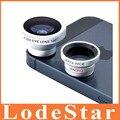 3 em 1 telefone móvel de 0.67 xWide angular Macro 180 lente olho de peixe Kit câmera conjunto para iPhone 5S S5 Samsung Android