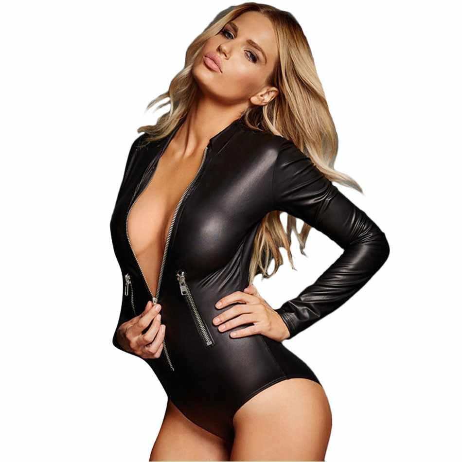 Черный v-образным вырезом из искусственной кожи с длинным рукавом Женские чарующие боди на молнии с длинными рукавами женские клубный костюм пляжного типа хит продаж Новые комбинезоны
