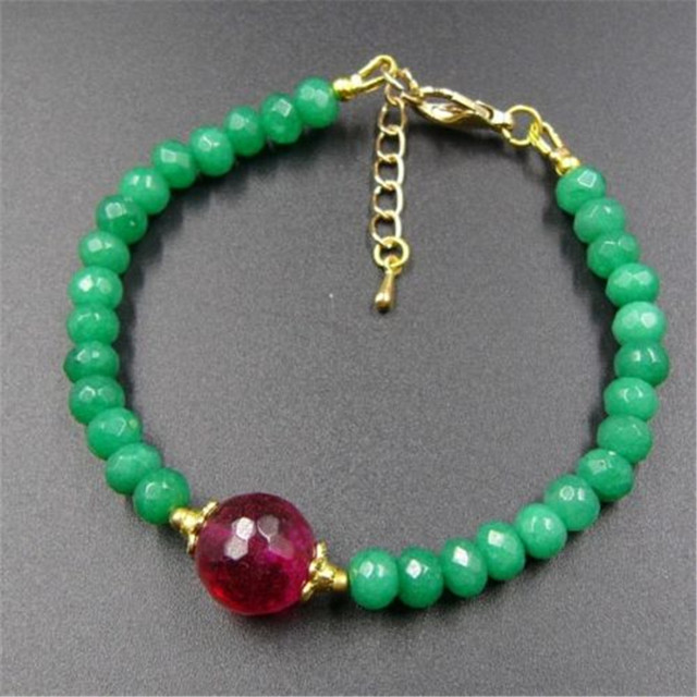 Vintage Classic Natural Stone Jewelry Elegant Noble Green  Jade Beaded Chain with Red Tourmaline Strand Bracelet 20 cm