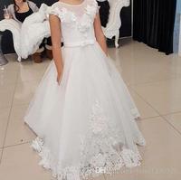 2019 для девочек в цветочек платья для свадеб Jewel спинки с рукавами крылышками, с аппликацией для девочек торжественный праздник первого прич