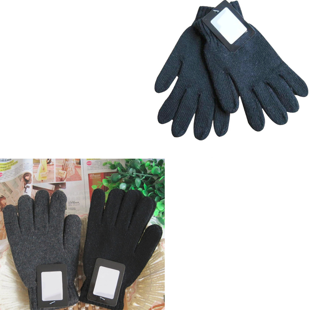 Warm Men Women Unisex Woolen Thermal Mittens Gloves Winter Thick Cotton Warm Knitting Full Finger Plain Color Gloves Guantes