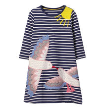 Baby Girls Stripes Dress New Baby Girls Cartoon Dresses with Birds Printing Kids Long Sleeve Casual Cotton Dress Kids Clothing(China)
