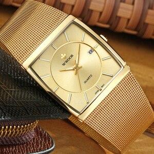 Image 3 - WWOOR relojes de marca de lujo para hombre, reloj masculino de pulsera cuadrado de cuarzo dorado, resistente al agua, 2019
