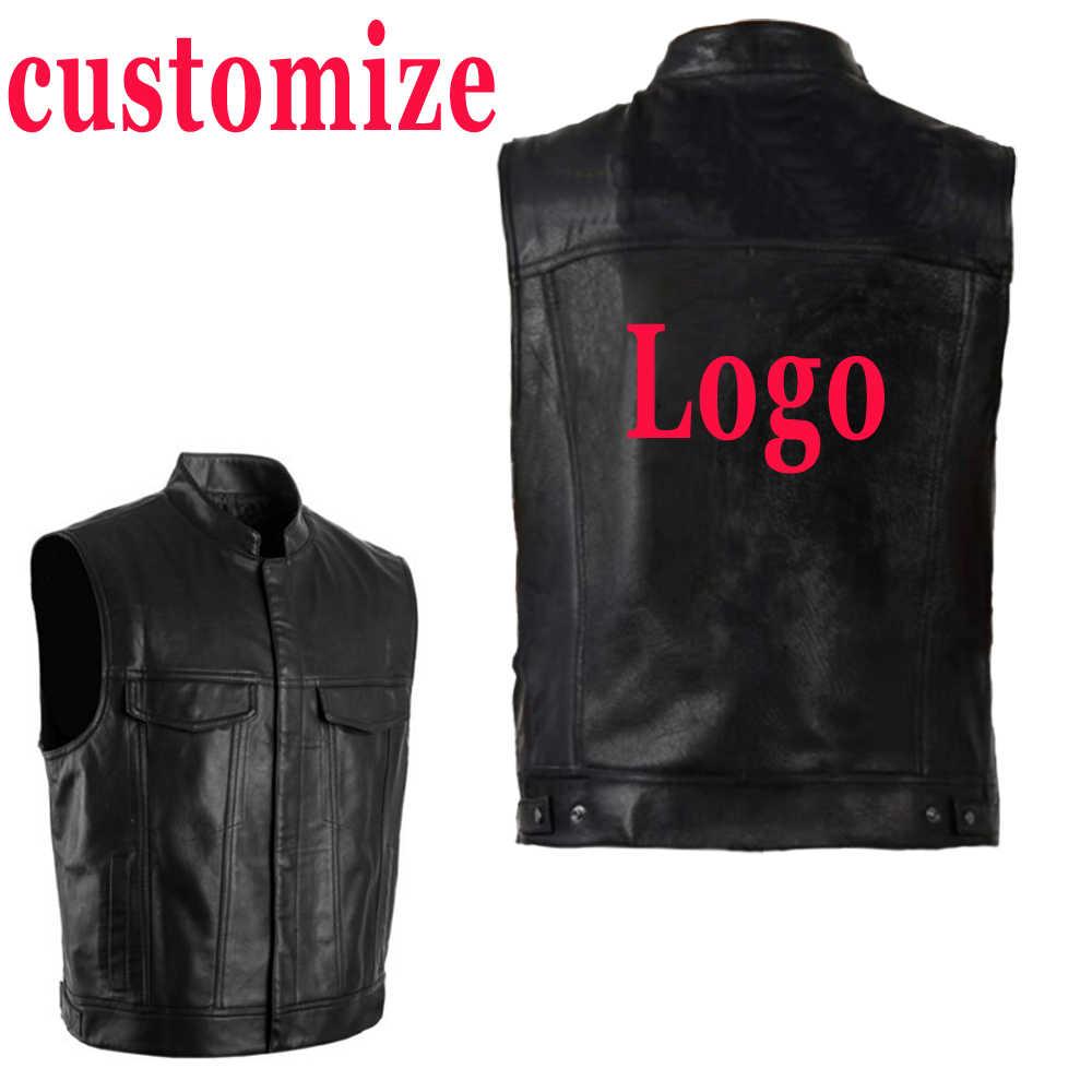 Dostosuj pu kamizelka mężczyźni skórzane kurtki bez rękawów kamizelki Punk Rock kamizelka Logo drukowanie Logo płaszcz hip-hopowy niestandardowe DIY Streetwear