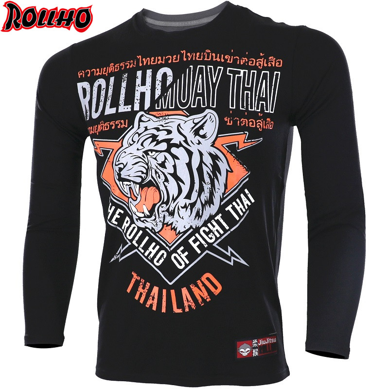 ROLLHO Muay Thai MMA Fightwear Boxing Set Compression Jersey Pants Hexagon Print Rashguard KickBoxing Tight Long TShirt Trousers