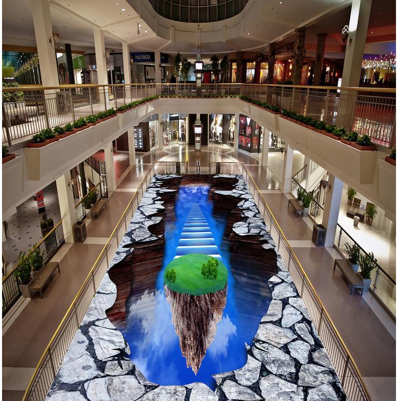 Blue sky Floor wallpaper 3d for bathrooms PVC Waterproof floor mural painting Custom Photo self-adhesive 3D floor
