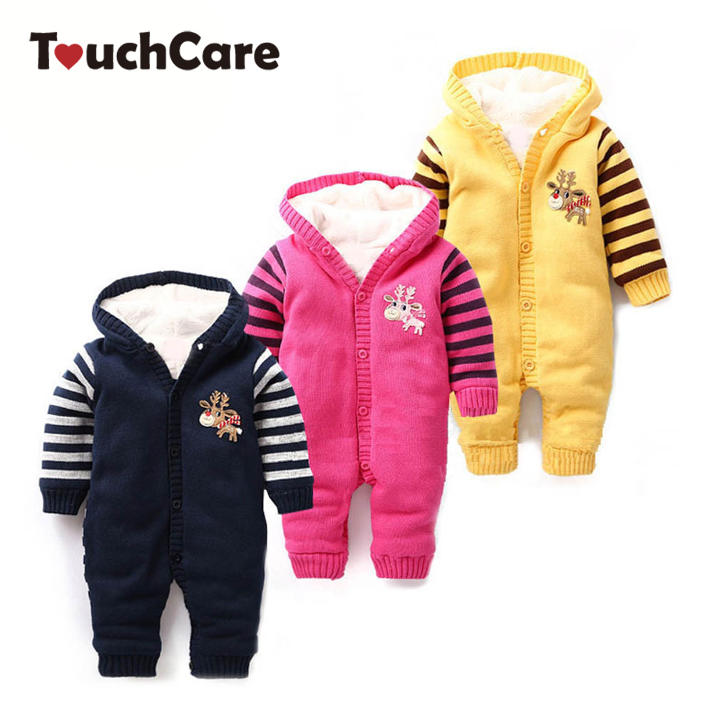 Baby Rompers Newborn Christmas Baby Boy Girl Clothes Infant Cotton Thick Todder Jumpsuit Hooded Ropa Bebes Sweater Costume baby rompers cotton long sleeve baby clothing overalls for newborn baby clothes boy girl romper ropa bebes jumpsuit p10 m