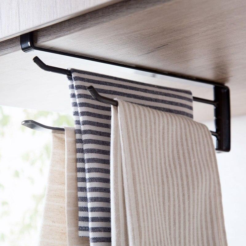 Hanging Towel Rack Rotation No Nail Holder Cupboard Bar Bathroom ...