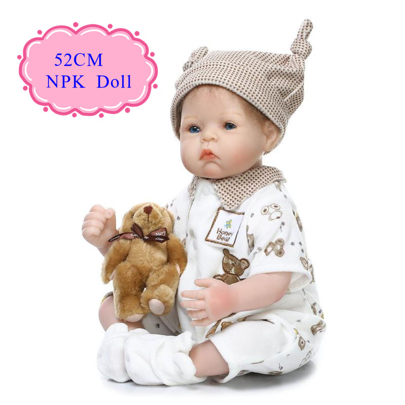 Classic 52cm 20inch Silicone Dolls Reborn With Very Cute Baby Doll Clothes Free Shipping Bebe Reborn Para Menina Hot Sell Gift cute 17 silicone baby dolls for sale with lovely high quality bear clothes bonecas baby alive most hot sell brinquedo menina