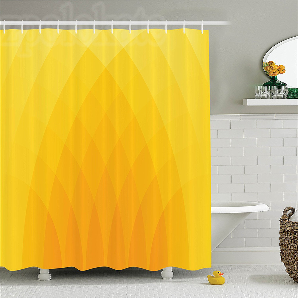 Yellow Decor Shower Curtain Set Illustration Of Modern