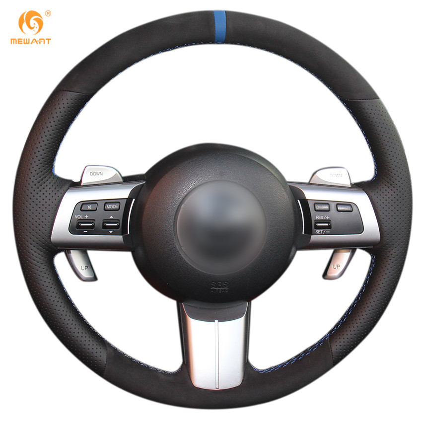 MEWANT Black Genuine Leather Black Suede Car Steering Wheel Cover for Mazda MX-5 2009-2013 RX-8 2009-2013 CX-7 CX7 2007-2009 runba ice silk steering wheel cover sets with red thread