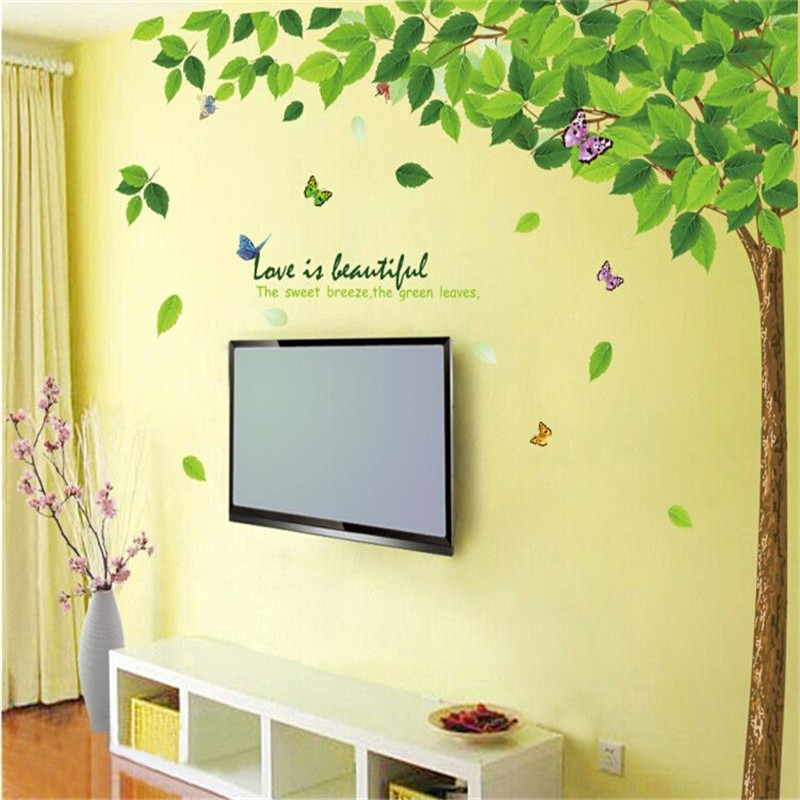 Huge size big green leaves tree branch plant removable wall stickers ...