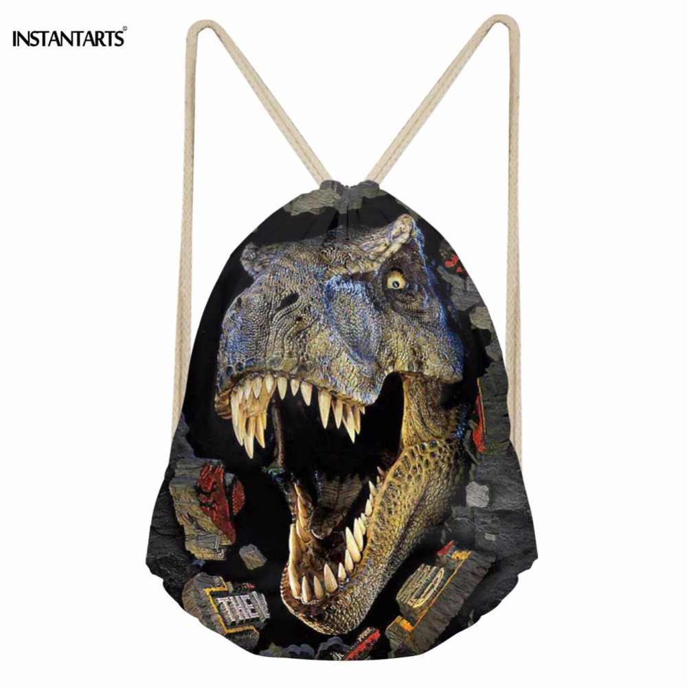 INSTANTARTS сумки для спортзала с завязками крутые 3D Животные Динозавр Акула Тигр Печать спортивные сумки для женщин и мужчин Gymsack Спортивная Сумка рюкзак
