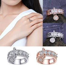 Filled Full Crystal Round Brand Rings For Women Luxury Clear CZ Finger Engagement Wedding Gift Fashion Jewelry