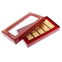 5 шт./компл. Китайский Фэншуй Lucky поддельные Золотые прутки с коробкой Изделия из металла подарок