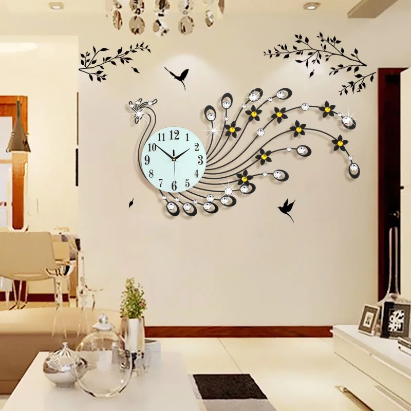 3D Wall Clock Modern Design Home Decor Wall Watches Living Room 39pcs Diamonds Peacock Decorative Wrought Iron Silent Big Clock