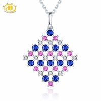 Hutang Diamond Jewelry Natural Sapphire Ruby 18K White Gold Pendant Necklace Fine Stone Jewelry For Women