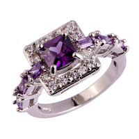 Wholesale Fashion Women Noble Princess Cut Amethyst & White Topaz 925 Silver Ring Size 6 7 8 9 10 For Lovers Jewelry Free Ship