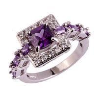 lingmei Wholesale Fashion Women Noble Princess Cut Amethyst White Topaz 925 Silver Ring Size 6 7 8 9 10 Jewelry Free Shipping