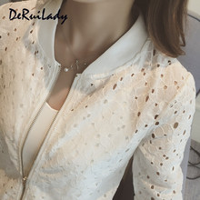 21ebe2a29 DERUILADY Women s Summer Thin Jacket Lace Long Sleeve Sunscreen Women  Clothing Hollow Out Breathable Bomber Jacket Black White