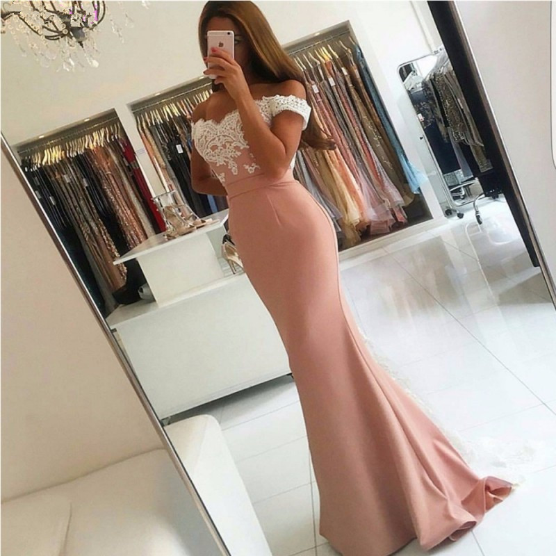 Pink 2019   Prom     Dresses   Mermaid Off The Shoulder Satin Lace Backless Party Maxys Long   Prom   Gown Evening   Dresses   Robe De Soiree