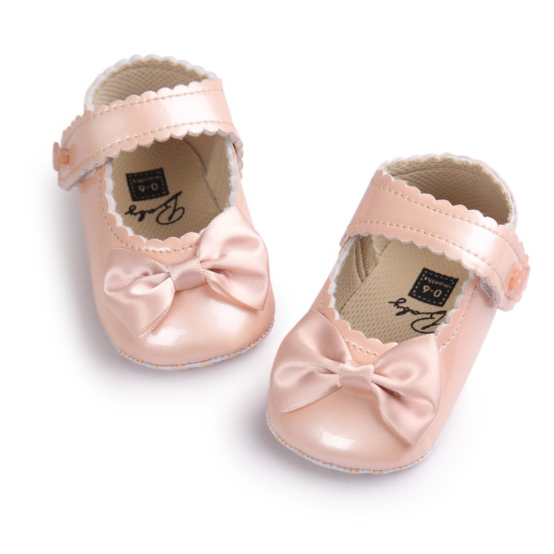 Moccasins Baby Girl Shoes Princess Shoes For Infant Baby Girls First Walkers Soft Sole PU Leather Bow Crib Baby Shoes 0-18M