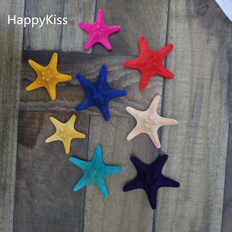 HappyKiss  2pcs Natural Starfish Shells Conch  Decoration  Marine Style  Wedding  Steamed Bun Starfish 3-5cm Colors Sea Star