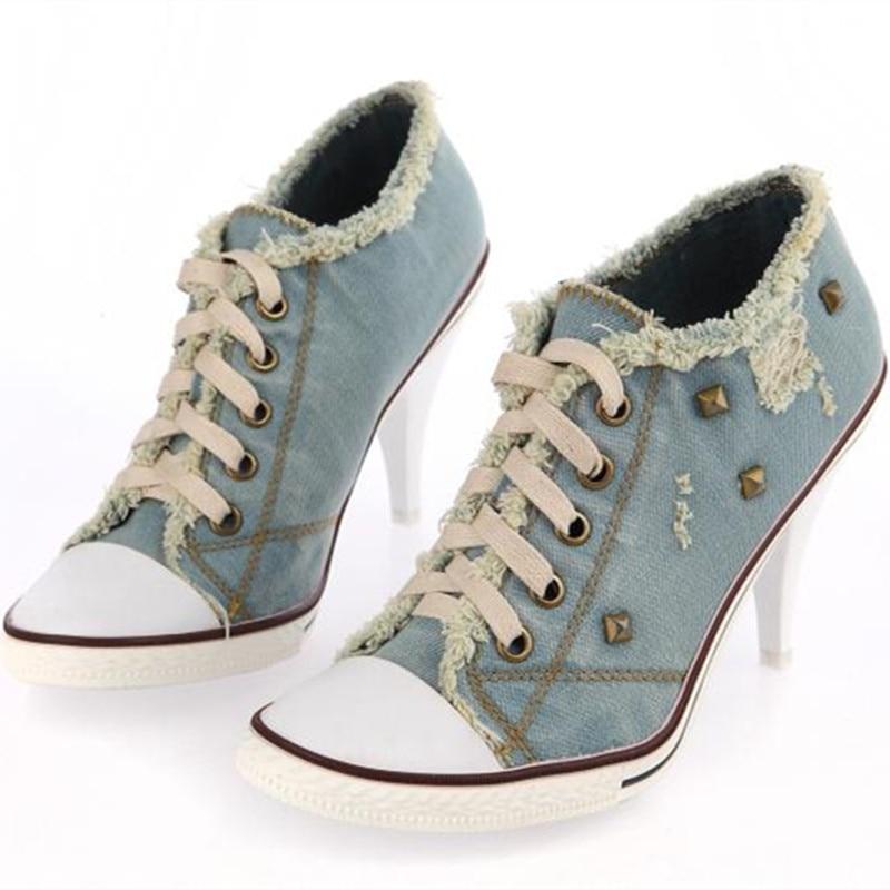 Desinger Shoes studded High Heels Lace Up Blue Jeans Denim Boots For Women Girls Cowboy  ...