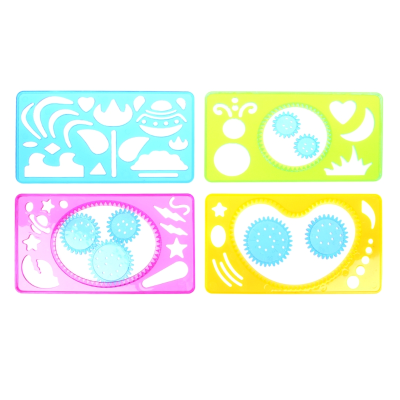 4Pcs Spirograph Geometric Ruler Stencil Spiral Stationery Learning Drawing Tool High Quality
