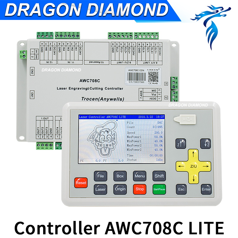 Upgrade DSP Laser Controller Trocen Anywells AWC708C Lite Co2 Laser Controller System For Milling Machina leetro mpc6515 laser controller board for sale mpc6515c controller system
