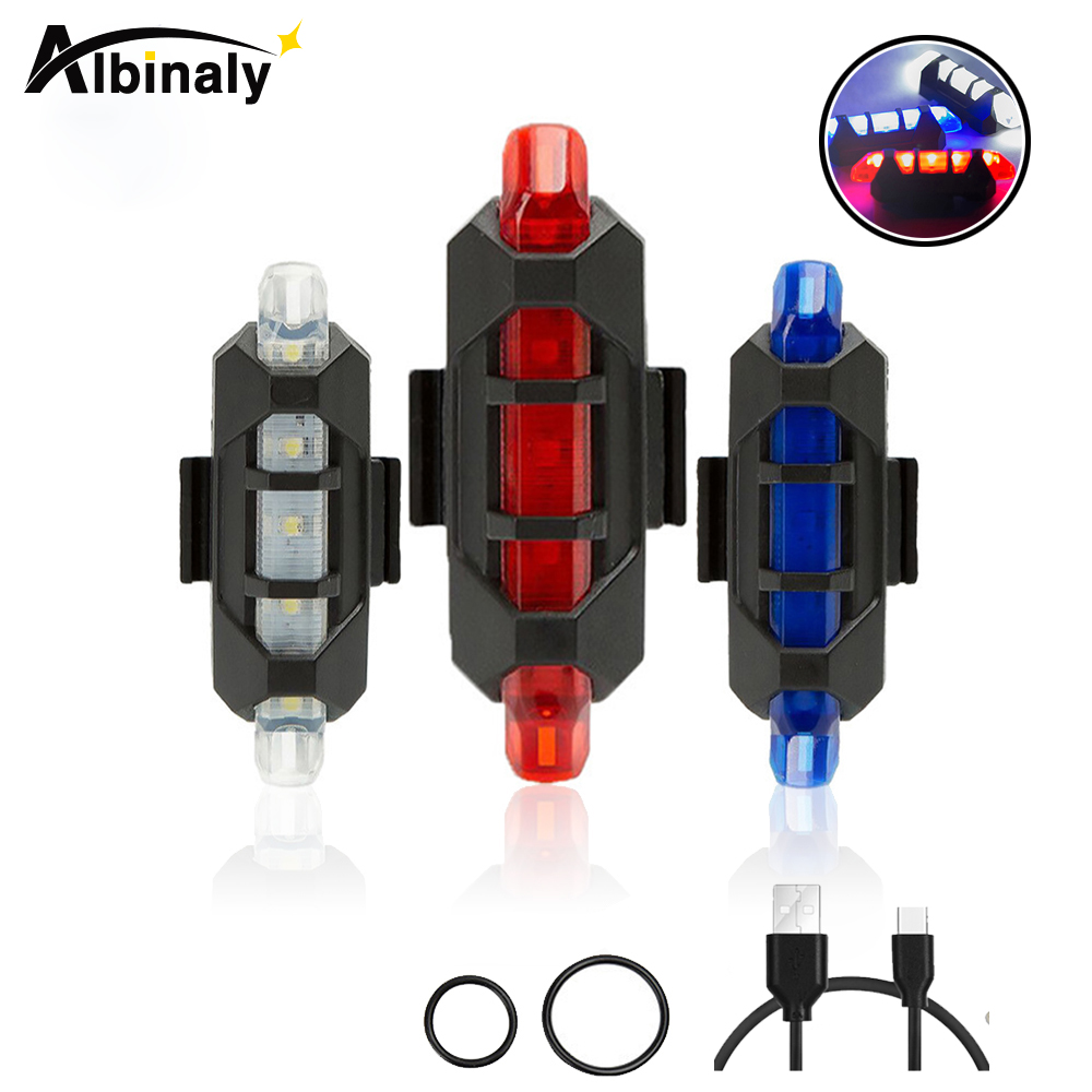 Super Bright Rechargeable USB Tail Light LED Bicycle Rear Safety Warning Light Portable Waterproof Bicycle Flash