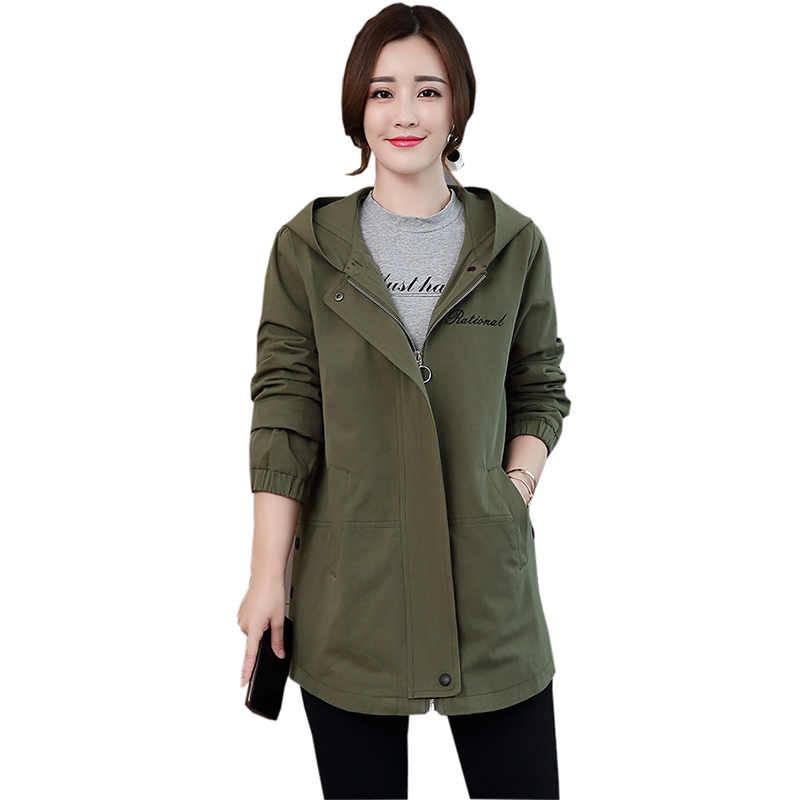 Spring Autumn Women   Trench   Coats Fashion Cotton Hooded Loose Oversized Trenchs Female Loose Plus Size Coats Outwear FP1429