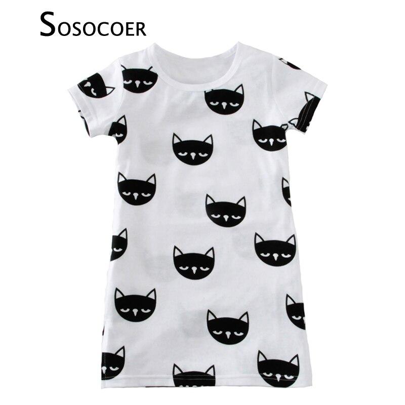 0abd942bd Sosocoer طفل فتاة اللباس الجديد 2017 لطيف الحيوان القط الاطفال اللباس الصيف  نمط الكرتون قصيرة الأكمام الفتيات فساتين للطفل الملابس