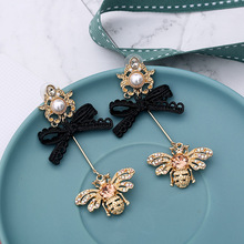 New Wedding pure Romantic Fashion Bow Crystal Resin Flower Drop Earring Pearl Earrings Jewelry Accessories For Women