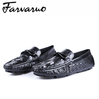 Farvarwo итальянской натуральной кожи крокодила тиснением Туфли под платье круглый носок мужские вождения Повседневное формальных Мокасины С