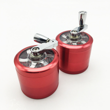 4 Layers Red color Smoking herb Grinder Smooth Aluminium Alloy Hand Tobacco Grinder Weed Grinder with Hand Crusher