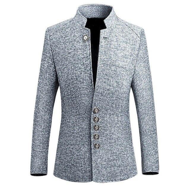 מותג 2019 Mens בציר בלייזר מעילי סיני סגנון עסקי מזדמן צווארון עומד זכר בלייזר מעילי Slim Mens מזדמן חליפת מעיל