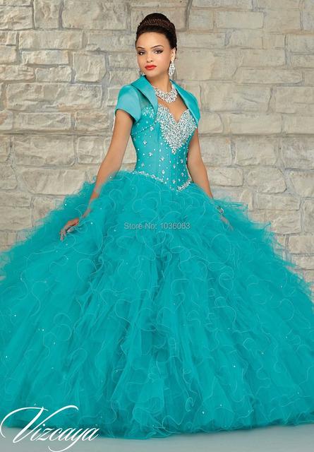 Custom Made Faísca Frisada de Moda de Nova Turquesa Azul Vermelho Da Menina Vestidos Quinceanera Alta Qualidade Tamanho Personalizado 2016