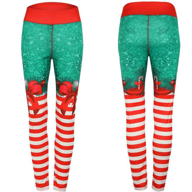 Polyester Red Christmas Striped Print Legging 3