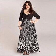 Tamaño grande 6xl mujer dress 2016 verano cuello cuadrado de impresión ocasional larga vestidos tallas grandes ropa 6xl dress