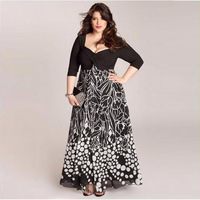 Big Size 6XL Woman Dress 2016 Summer Casual Square Neck Printing Long Dresses Plus Size Women