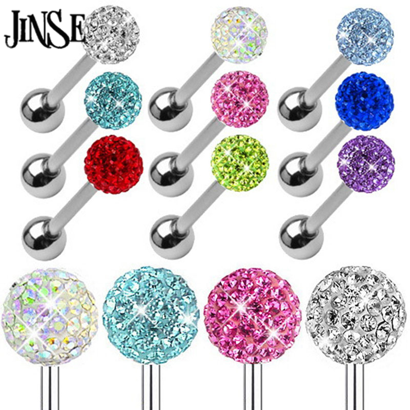 JINSE 10PCS Earring ear plug eyebrow body piercing fashion jewelry ball with 16G 1.6*16*6/6MM Surgical Steel TAIERS