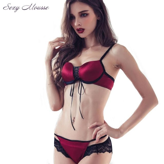 74ed50d542d Sexy Mousse Women's Sexy Bra Brief Sets Leopard Brassiere Lace up Lingerie  Push up Bra and Panties Set Black Purple Female-in Bra & Brief Sets from ...