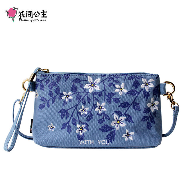Flower Princess Original Embroidery Women Crossbody Bags Summer Small Girl Shoulder Bag Practical Clutch Bags Lady Handbags