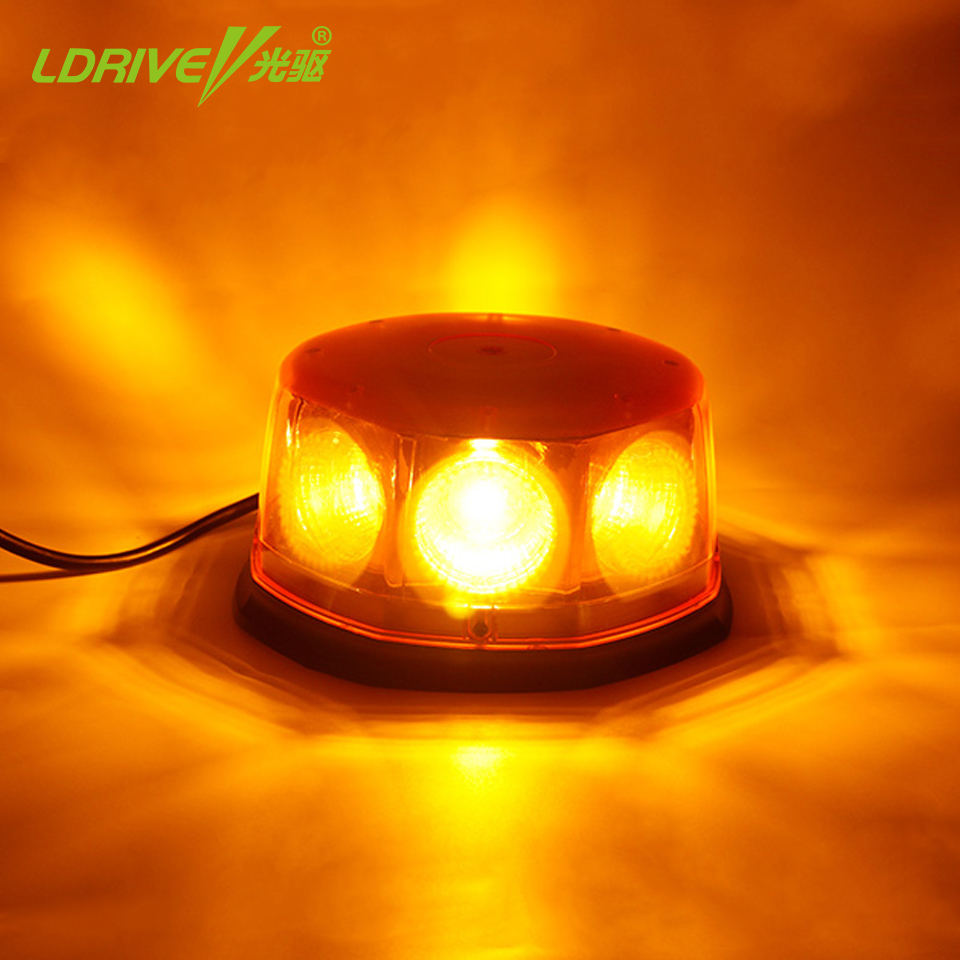 48W Emergency Safety Flare Yellow Road Flare Magnet Flashing Warning Night Lights Roadside Disc Beacon For Car Police School