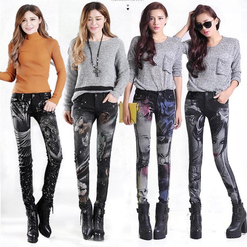 Slim Jeans For Women Skinny Rhinestones Jeans Woman Blue Denim Pencil Pants Stretch Women Print Jeans Black Pants Calca Feminina