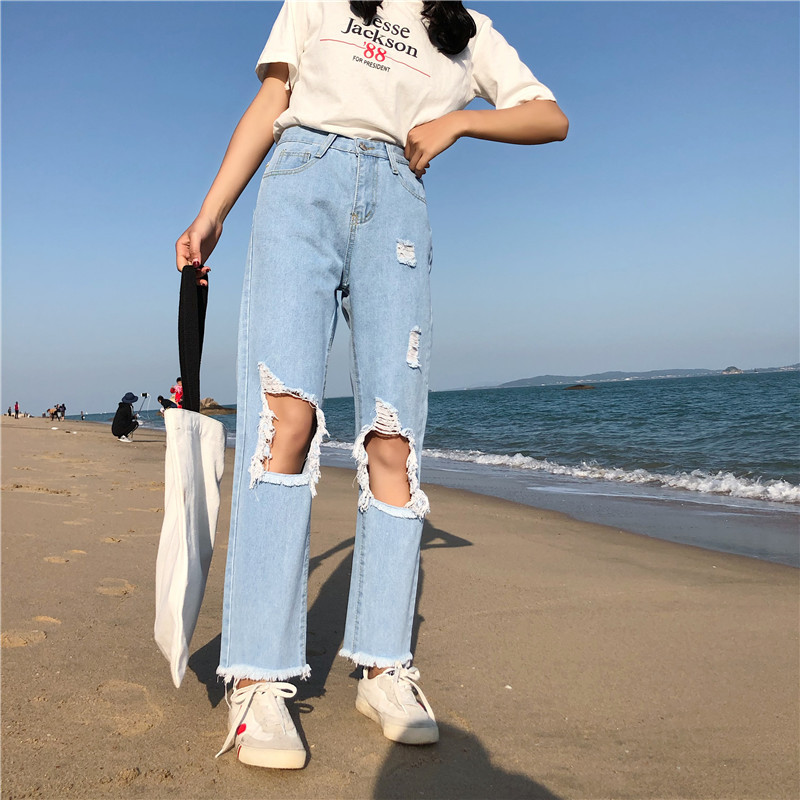 Womens Jeans High Waist Ankle-Length Pants Hole Cotton Denim Womens Loose Washed Vintage Straight Pants All Match Jeans