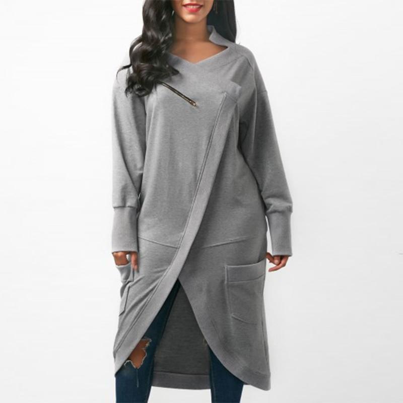 ZANZEA Women Sweatshirt Dress 2018 Autumn V Neck Long Sleeve Irregular Hem Solid Long Vestido Winter Fleece Pullover Plus Size in Dresses from Women 39 s Clothing