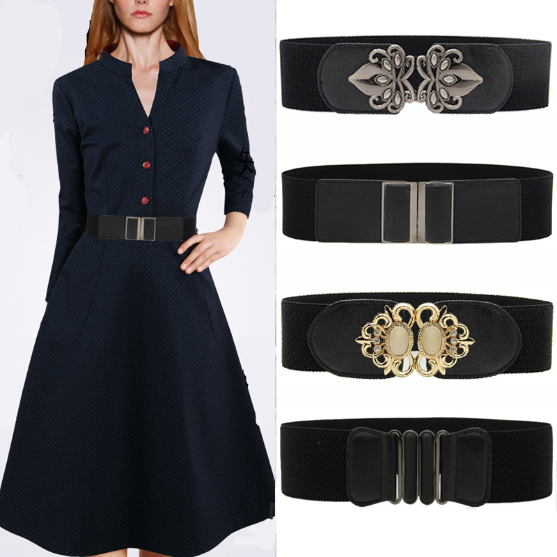 Fashion Wide Leather Belts For Women Vintage Metal Buckle Cummerbunds Black Elastic Waistband Woman Waistbands For Women Dress